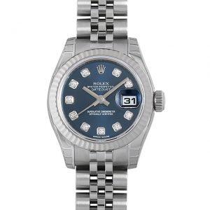 ロレックス デイトジャスト 10Pダイヤ 179174G ブルー