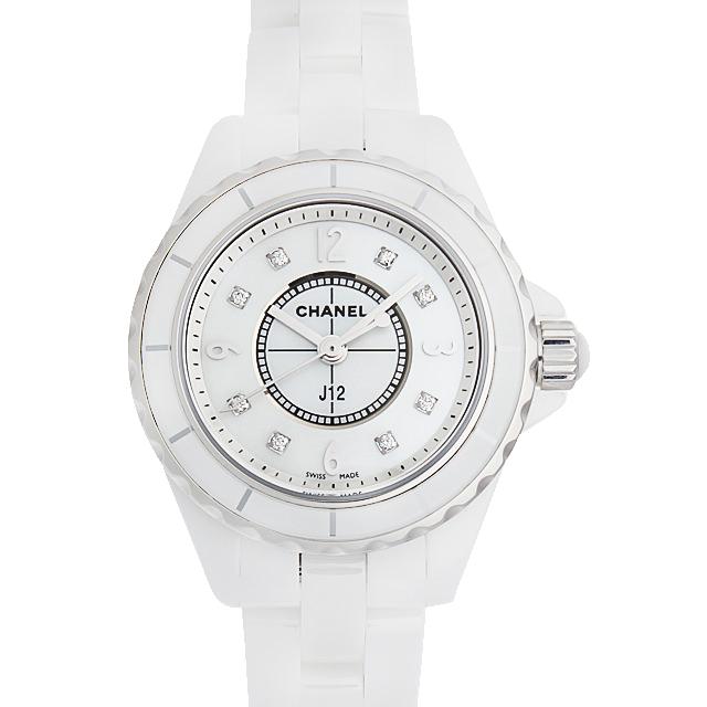 H2570 シャネル J12 白セラミック 8Pダイヤ ホワイトシェル/White Shell