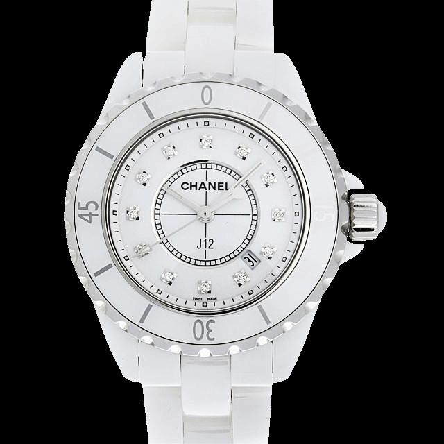 H1628 シャネル J12 白セラミック 12Pダイヤ ホワイト/White